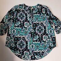 EST 1946 Women's XL Pullover Blouse Long Sleeve V Neck blue roll tab sleeve