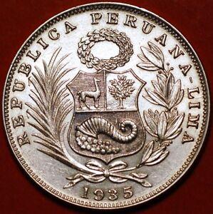 1/2 Sol 1935 silver Lima Peru KM#216  F373TO