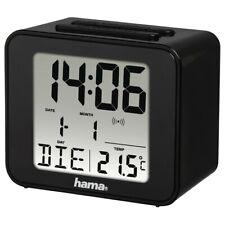 Hama Black Cube Large Number LCD Digital Alarm Clock Atomic Time Auto Adjust