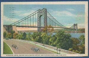Riverside Drive George Washington Bridge New York, gelaufen 1934 (AK3842)