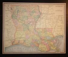 Antique 1893 Map of Louisiana