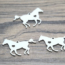 5pcs running horse Charms silver tone horse heart charm pendant 28x17mm