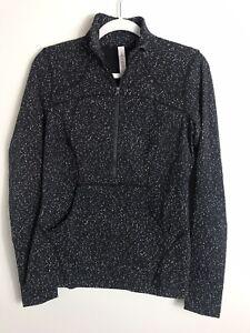 Lululemon Women Define Pullover-1/2 Zip-Magnetized Jacquard Black White-Size 10