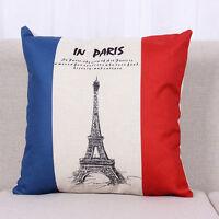 Cotton Home Decor Linen Pillow Case Sofa Waist Throw Cushion Cover USA UK Flag