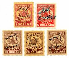 1950's Pennsylvania Real Estate Transfer Tax Stamps $1 to $20