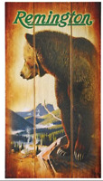 REMINGTON BEAR WOOD SIGN BROWN BLACK GRIZZLY WALL PLAQUE WOODEN AMMO