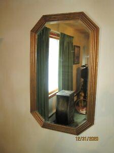 Large Wood Frame Octagonal Beveled Glass Mirror