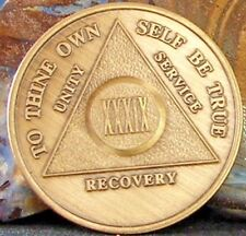 Alcoholics Anonymous Aa 39 Year Bronze Medallion Coin Chip Token Sobriety Sober