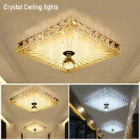 Modern Square Crystal Ceiling Light LED Chandelier Living Room Home Lamp Cool UK