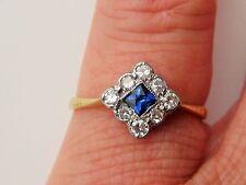 ART DECO 18ct LOVELY sapphire & diamond ring