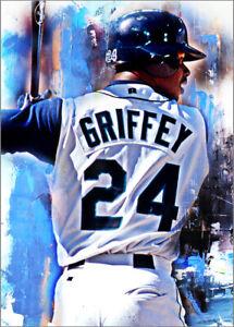 Ken Griffey Jr. Seattle Mariners 15/25 Fine Art Print Card By:Q