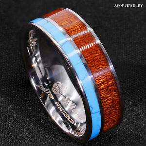 8mm Tungsten Men's Ring Silver Turquoise & Koa Wood Wedding Band ATOP Jewelry
