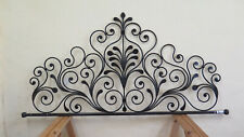 Headboard For Bed 59 1/8in Wrought Iron A Tail peacock Bed header Vintage 18