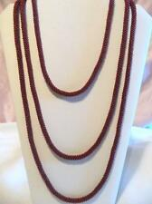 Vintage Czech Glass Flapper Necklace Braided Burgundy Seed Beads 76""