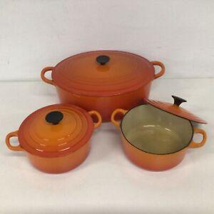 Set Of 3 Cast Iron Le Creuset Orange Cooking  Stock Pots #927