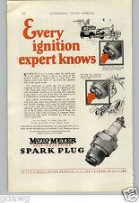 1927 PAPER AD Moto Meter Spark Plug Self Adjusting