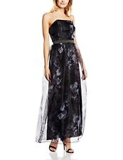 Little Mistress Black & Grey Floral Organza Maxi Dress Size 12 Multi Dh076 EE 13