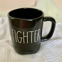 "Rae Dunn Artisan Collection ""FIGHTER"" LL Black W/ White Letters Mug 2021 HTF"