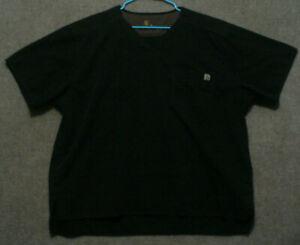 Carhartt Black Scrub Top Unisex Size XXL Short Sleeve V Neck 2XL