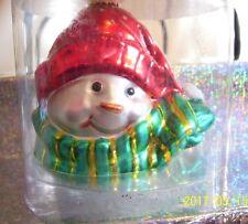 JAN KARON design HALLMARK collectible glass snowman ornament NIB circa late 90s