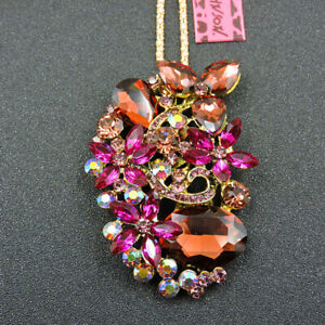 Betsey Johnson Rose Pink Rhinestone Crystal Flower Pendant Necklace/Brooch