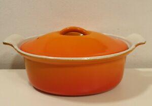 Vintage Orange Cousances Made in France La Crueset Casserole Pot Size 18