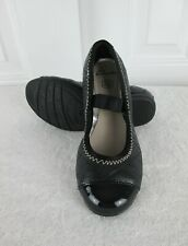 Clarks Kids Girls Size 11.5 M Black Quilted Leather Patent Ballet Flats NEW