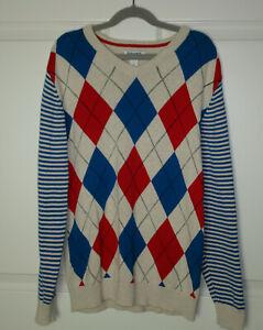 Boys Old Navy Oatmeal Blue Red Argyle & Stripes Pullover V-Neck Sweater Sz 10-12
