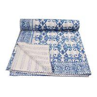 100% Cotton Kantha Hand Block Gudari Bedspread Vintage Blanket Ralli Bed Cover