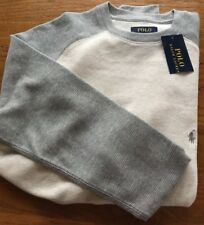 Ralph Lauren Polo Thermal Baseball Shirt Small Cream/grey Nwt