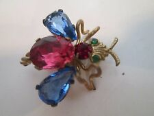 Bee Fly Signed Antique Blue Pink Ruby Emerald Glass Rhinestone Pin Brooch Czech
