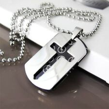 "Silver Black Dog Tag Gothic Celtic Cross Pendant 24"" 60cm Mens Chain Necklace"