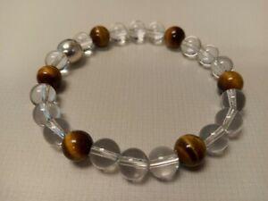 Handmade Crystal Gemstone Clear Quartz And Tiger Eye Bracelet