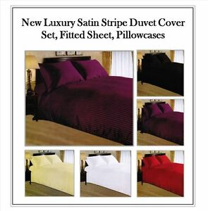 Egyptian Satin Stripe Duvet Cover,Fitted,Flat Sheet 100%Cotton250 Thread Count