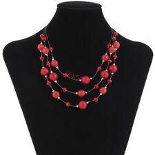 Damen Multilayer Halskette Rot Kristall Perlen Kette Statement Anhänger Collier