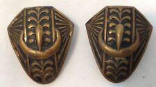 Vtg Brass Button Covers or Bolo Tie Slides Embossed Belt Buckle Design Set of 2