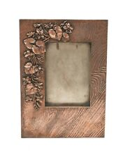 Antique Japanese Antimony & Copper Unusual Wood Textured Photo Frame
