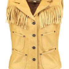 RALPH LAUREN 100% cowhide leather fringed WAISTCOAT western cowboy style bnwt M