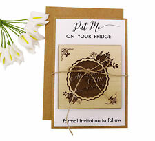 Personalized Wooden Engraved Magnets Wedding Announcements With Envelopes-MG48