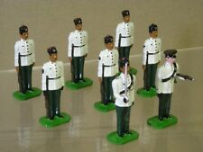DUCAL 10th GURKHA RIFLES PARADE GROUP WHITE JACKETS AT ATTENTION x 8 & OFFICER