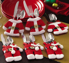 6pcs SANTA CLAUS Xmas Tableware Cutlery Pocket Holders for Dinner Party Decor