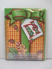 Pkg 6 Mary Engelbreit Christmas Notecards Letter N Gift Box Bow Gingerbread Man