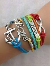 NEW Infinity Faith Love Anchor Leather Charm Bracelet plated Silver