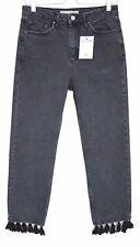 Topshop Moto High Waisted Slim Leg Black TASSEL Crop Jeans SIze 12 W30 L30