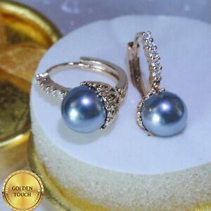 18k Yellow Gold GF SIM Diamonds And Grey Pearl Lever back Hoop Earrings, Boxed