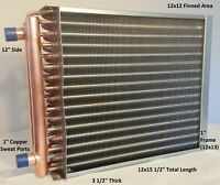 """12x12 Water to Air Heat Exchanger~~1"""" Copper Ports w/ EZ Install Front Flange"""