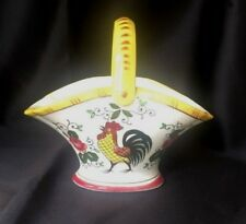 Ceramic ROOSTER DECOR Basket or Bowl with Handle