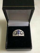 9ct White Gold, Diamond & Tanzinite (AA) -  Lace Style Ring - Size N (New)