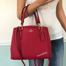 NEW! COACH Crossgrain Leather Satchel Tote Shoulder Crossbody Bag in Bright Pink
