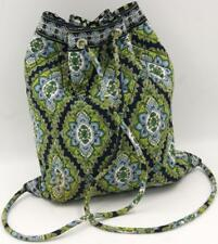 Vera Bradley Backpack Backsack Purse Drawstring Green/Blue Tote